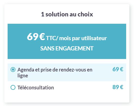 Tarif 1 : 69€ TTC/mois par utilisateur