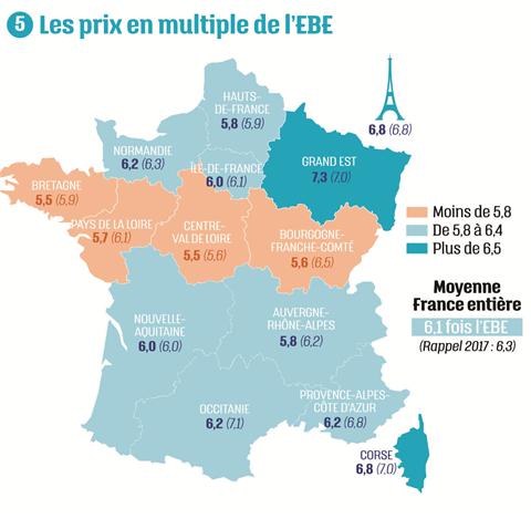 Carte Les prix en multiple de l'EBE